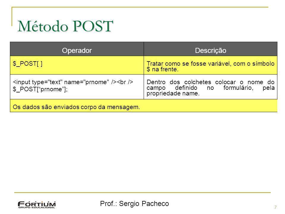 Método POST Operador Descrição Prof.: Sergio Pacheco $_POST[ ]